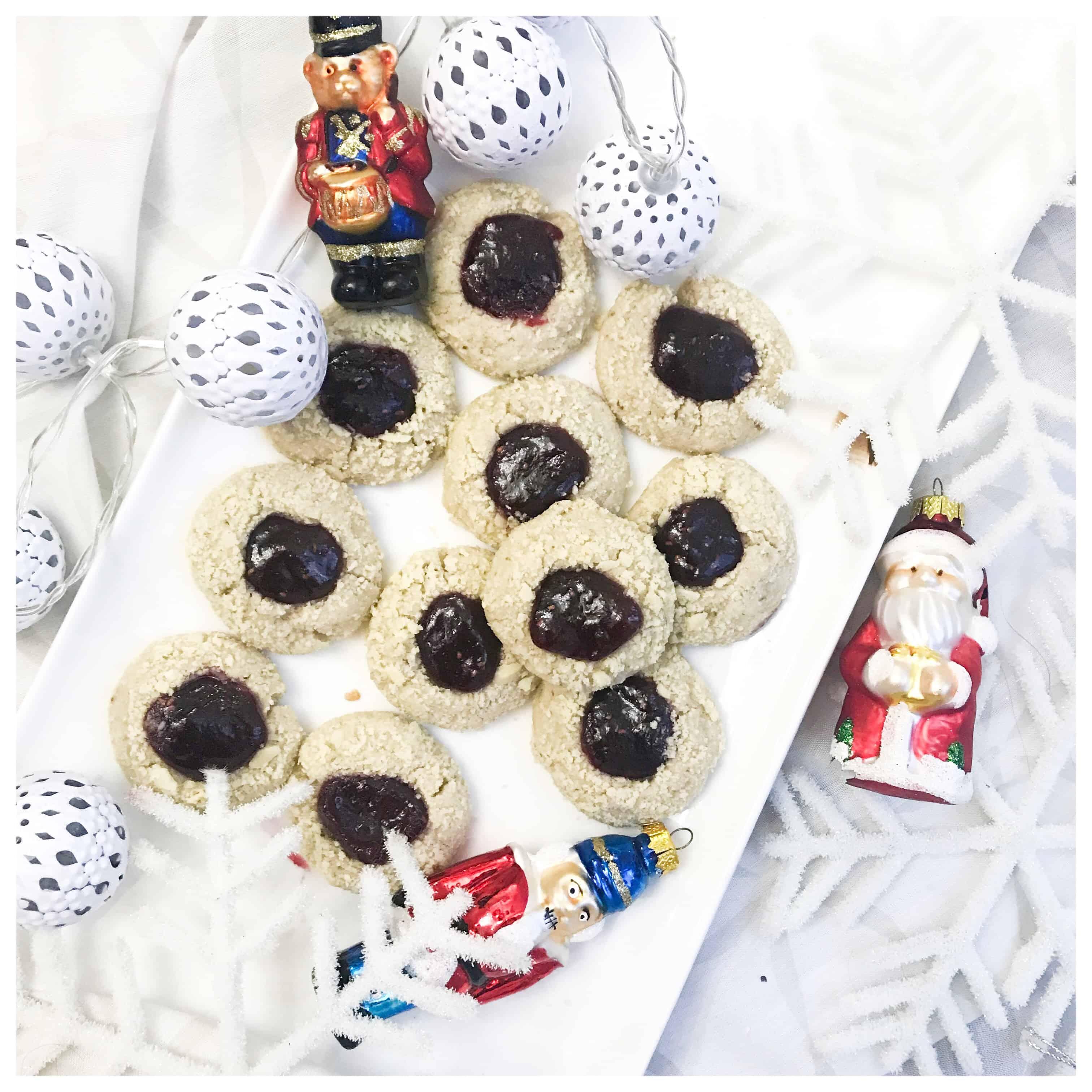 Vegan Raspberry Almond Thumbprint Cookies