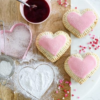 Vegan Raspberry Heart Shaped Hand Pies